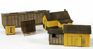 BANTA-2155-HO-RICO-OUTBUILDINGS-5-STRUCTURES-Model-Railroad-Wood-Kit-FREE-SHIP