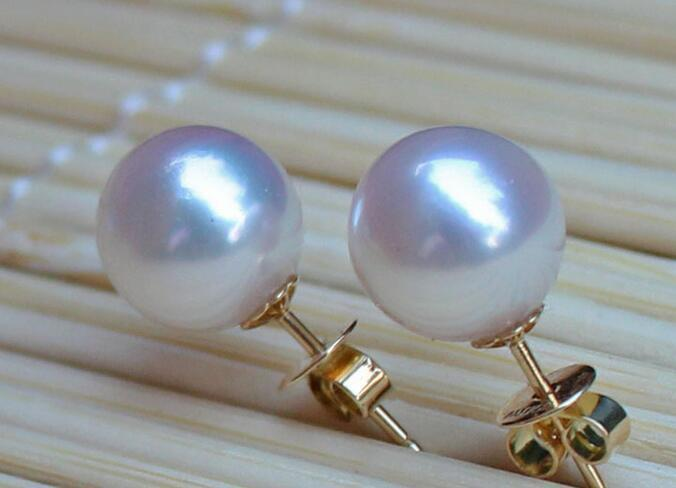 Pair of 12mm natural south sea white round pearl earring