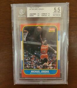1986 Fleer Basketball Michael Jordan Rookie RC #57 BGS 5.5 EX+