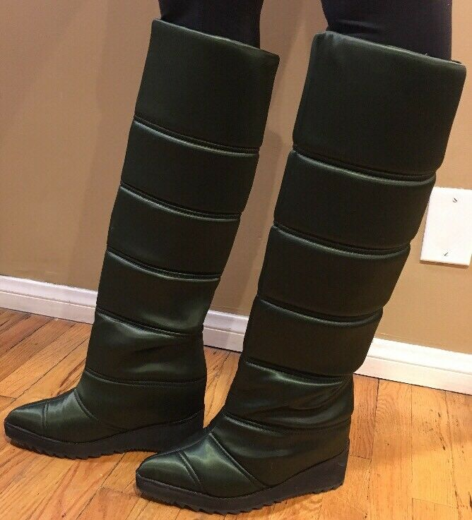 Jeffrey Campbell Squall Quilted Boots In Green size 6