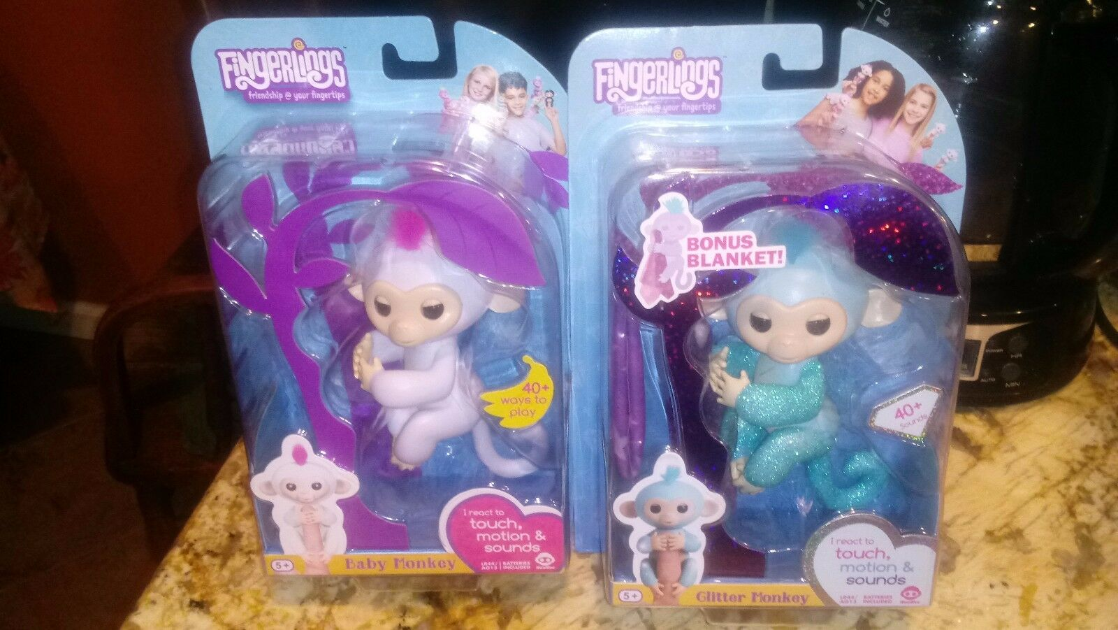 Lot of 2 FINGERLINGS Monkeys - White Sophie & Teal glitter Amelia BRAND NEW