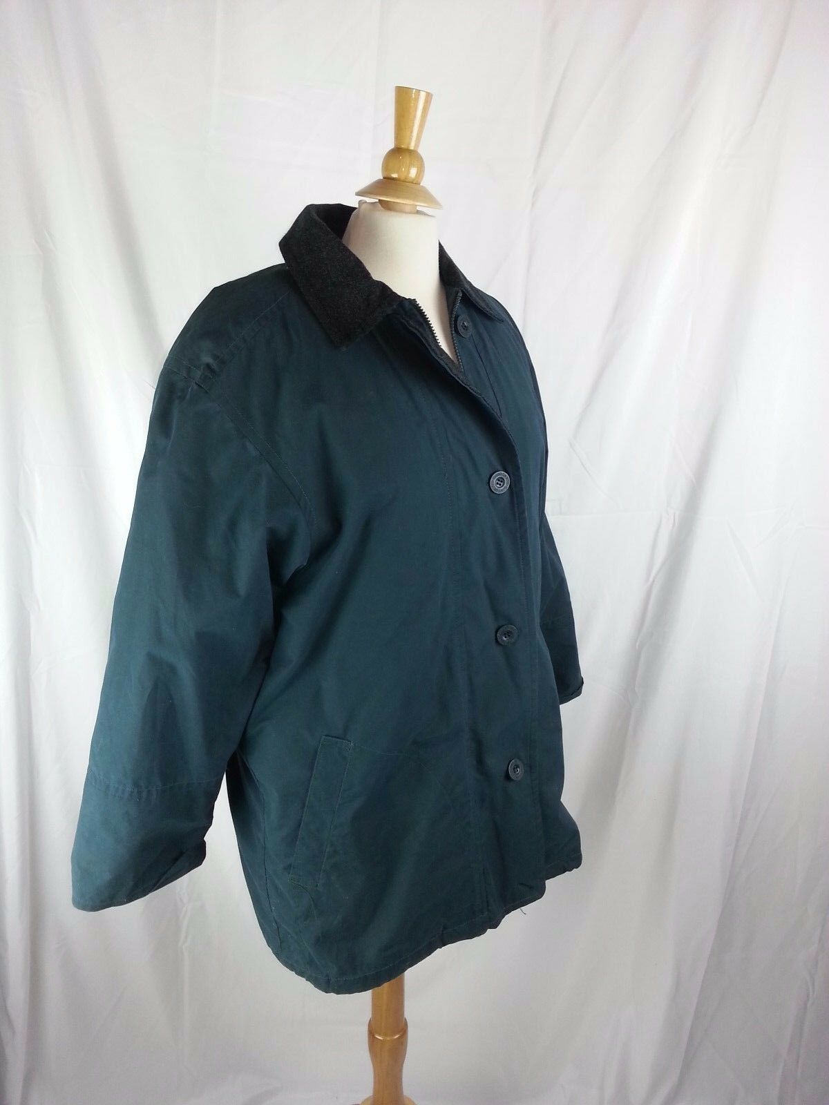 Women's London Fog Raincoat Ladies Coat bluee Green M Medium Liner