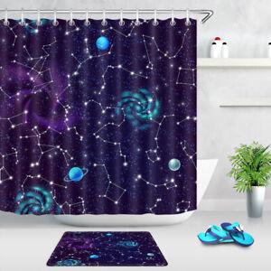 "Galaxy Universe Star Map Black White Waterproof Polyester Shower Curtain Set 72/"""