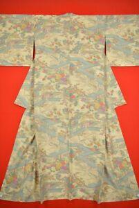 Vintage-Japanese-Silk-Antique-BORO-KIMONO-Kusakizome-KOMON-Dyed-YH65-1065
