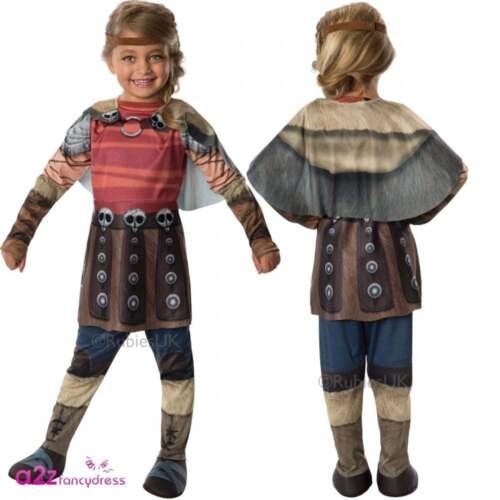 Le Ragazze Astrid come Treno Il Tuo Dragon 2 vichingo Bambini Fancy Dress Costume Outfit