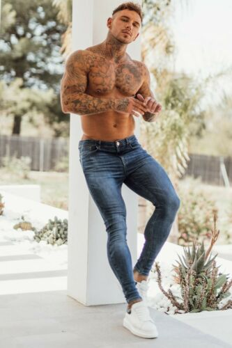New Signature Designer Mens Super Stretch Skinny Jeans Blue Northern Garms