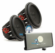 "pkg SOUNDSTREAM (2) T5.124 12"" SUBWOOFERS SPEAKERS + T1.4000DL BASS AMPLIFIER"