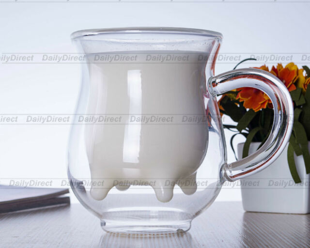 1x 6.76fl.oz/200ml Heat Resistant Glass Double Wall Cow Milk Cup Mug With Handle
