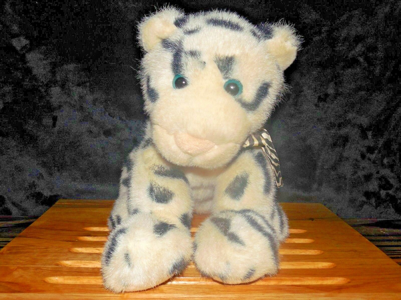 Gund Leika Plush Weiß Striped Tiger  2734 w striped Bow Vintage Stuffed 11