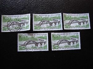 COTE-D-IVOIRE-timbre-yvert-tellier-aerien-n-62-x5-obl-A27-stamp