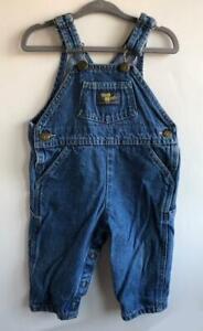 Vntg-OshKosh-Baby-B-039-gosh-Overalls-Vestbak-Boys-Girls-12M-Cotton-Denim-Blue-Jeans