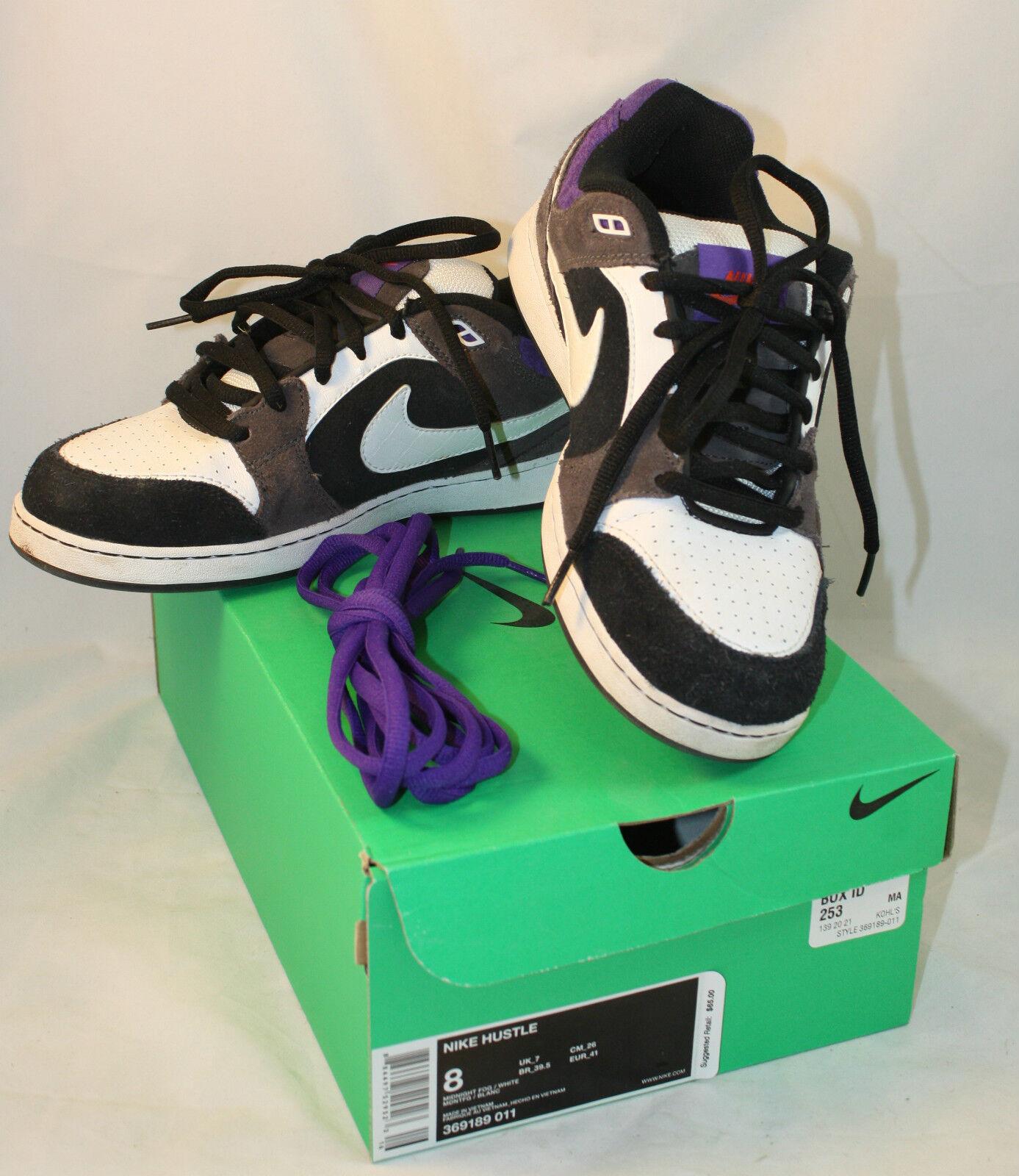 Nike Hustle Skate Skateboarding Sneakers Shoes Black White Mens 8 Midnight Fog