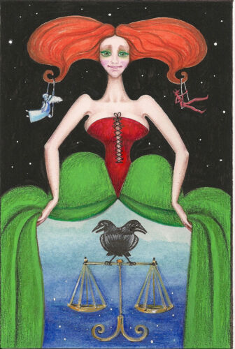 4x6 PRINT OF PAINTING RYTA RAVEN CROW ANGEL GOTHIC HALLOWEEN VINTAGE STYLE WITCH