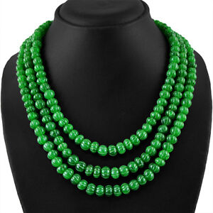 734.50 Cts Earth Mined Riche Vert émeraude Ronde Sculptée Faite Main Perles Collier-afficher Le Titre D'origine