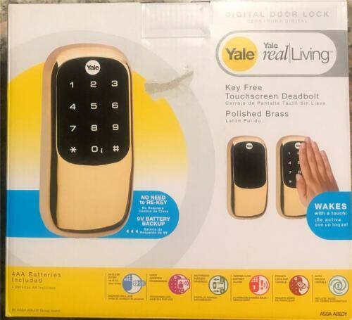 Yale Real//Living Polished Brass Key Free Touchscreen Deadbolt Door Lock New