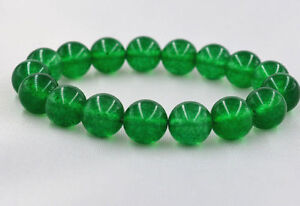 New-12mm-Green-100-Natural-Emerald-Round-Gemstone-Beads-Bangle-Bracelet