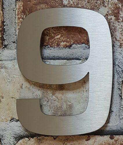 """Large 6/""""//15cm stick-on modern house//door numbers 2mm brushed stainless steel"""