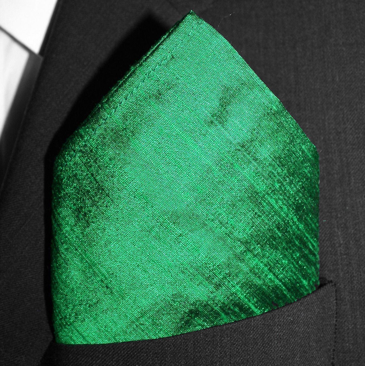 Emerald Dupioni Silk Pocket Square - Full-Sized 16