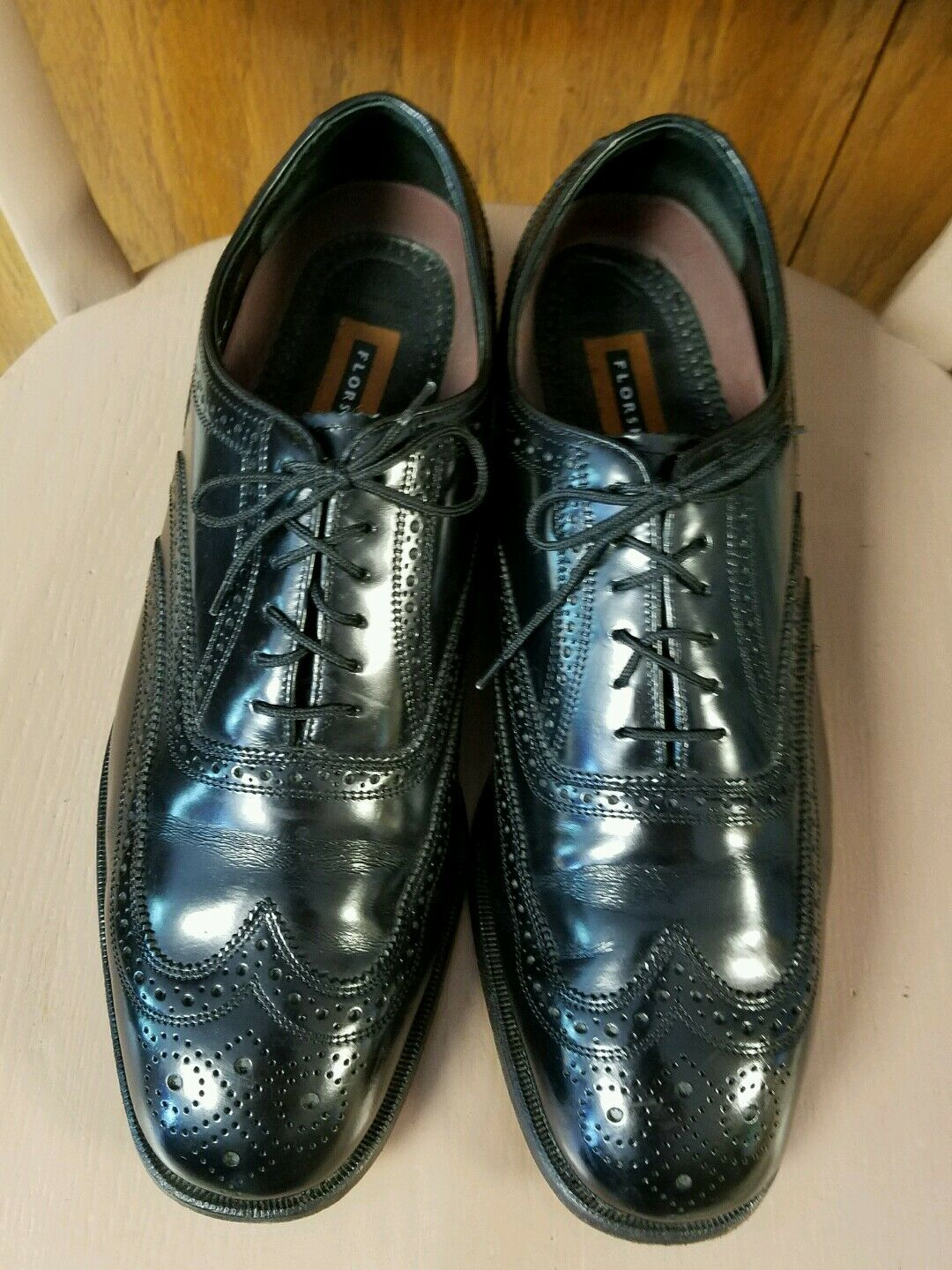 Mens Florsheim Lexington Wing Tip Classic Lace up Leather shoes 17066 Black 12 D