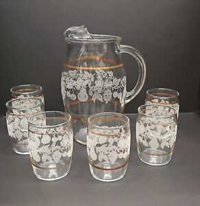 Barrett-Collins-Juice-Pitcher-amp-6-glasses-clear-frosted-fruit-with-Gold-Band