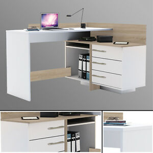 Eck-Schreibtisch-881-SONOMA-EICHE-weiss-Computertisch-Eckschreibtisch-PC-Tisch