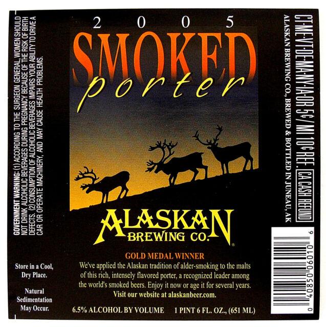 Alaskan Brewing Co 2005 SMOKED PORTER beer label AK 22oz Gold Medal Winner