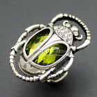 Egyptian Cleopatra khepri Scarab Beetle Emerald Gemstone Stretch Finger Ring