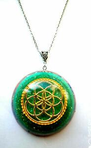 necklace-Orgone-Orgonite-pendant-Mandala-Flower-of-Life-Red-Agate-Aventurine