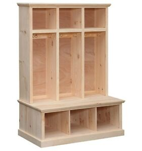 Amish Solid Pine Unfinished 3 Part Storage Cubby Shelf Locker With Seat Ebay