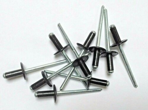 Black Pop Rivets Large Flange 3.2 x 12mm pack 100
