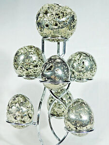 A-Neat-SEVEN-Sphere-Egg-Golf-Ball-or-Whatever-CHROME-Display-Stand