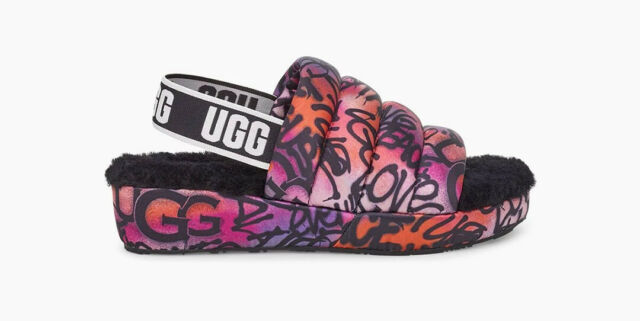 UGG Puff Yeah Pop Graffiti Slide