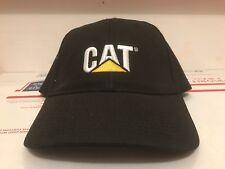 83f27f52 Caterpillar Ball Cap Hat black Cat logo fabric strap w/ buckle closure  Vintage