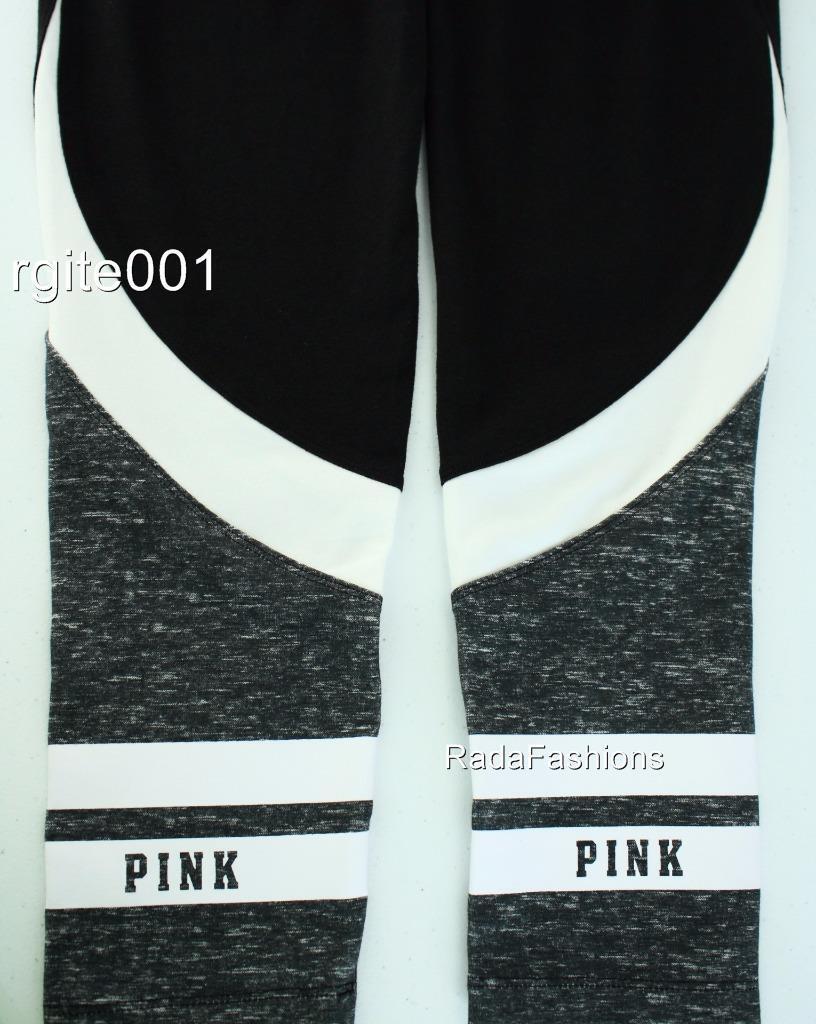 Victoria's Secret PINK Yoga Pieced Flat Legging Stretch Sport Marl Striped