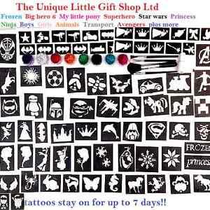 GLITTER-TATTOO-KIT-boys-and-girls-VALUE-124-stencils-glitters-glue-UK-made-SALE