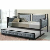 Upholstered Daybed With Trundle Guest Beds For Adults Twin Xl Size Rails Sofa