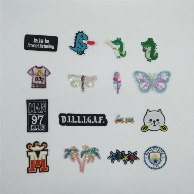 5PCs Embroidered Patches For Clothes Garments Iron-on Sew-on Blue Butterfly