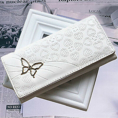 US Women Leather Butterfly Long Purse Wallet Clutch Bag Card Case Holder Button