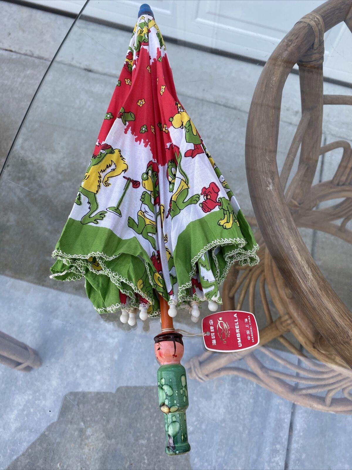 Vtg 70s Child Doll UMBRELLA PARASOL Wooden Orig T… - image 9