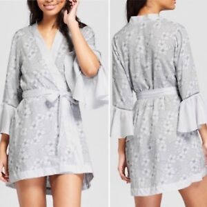 2d0e065ea3831 NWT~Gilligan O Malley~Gray White Floral~Trumpet Sleeve Short Robe ...