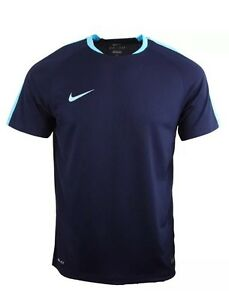 Memorizar romántico cable  Nike DRI-FIT Authentic Football T-Shirt Top Navy Sky Blue Size S Chest 36