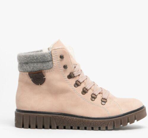 Rieker Y3440-31 Womens Ladies Faux Suede Warm Lined Wedge Heel Hiker Boots Rose