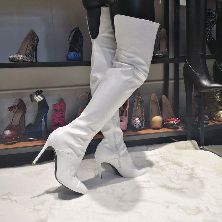 TRENDY TRENDY TRENDY Women Over the Knee Boots Slim High Heels White shoes Women Big Size 4-15 3d5176