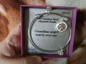 CLOSEOUT-SALE-From-USA-59-99-Stainless-Steel-Adjustable-Bangle-Guardian-Angel