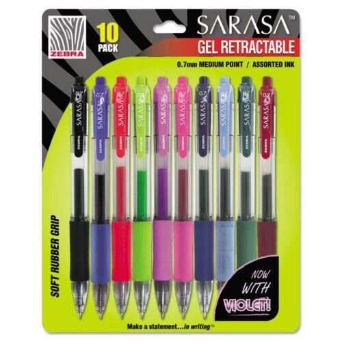 """Medium 10//pack/"""" /""""Zebra Sarasa Retractable Gel Pen Assorted Ink"""