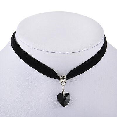 Gothic Velvet Heart Crystal Choker Handmade Necklace Pendant Retro 80 90s