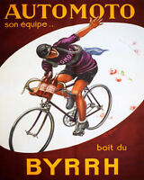 Poster Automoto Cycles French Cycling Team Drinks Byrrh Vintage Repro Free S/h