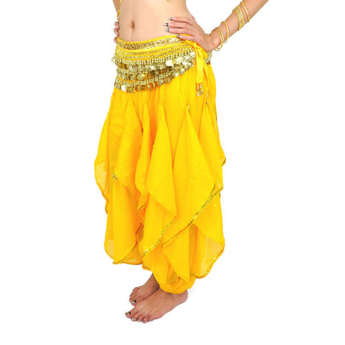 New belly dance Harem Pants Skirt with gold wavy 12 colours