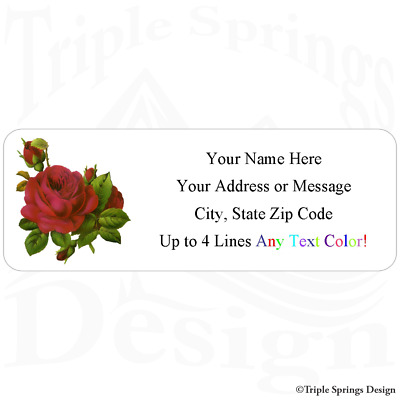 30 Custom Vintage Red Rose Americana Art Personalized Address Labels