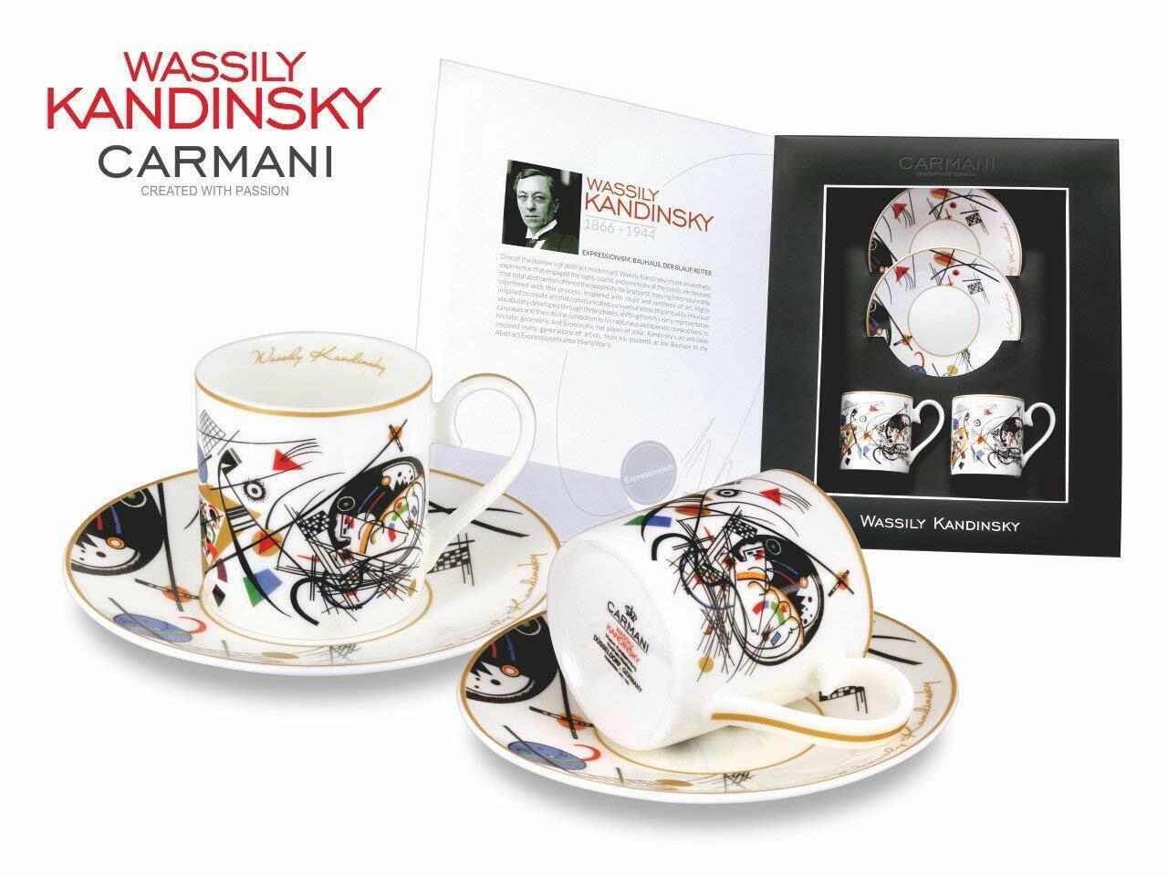 Carmani peintres 4-pc  animée aquarelle  Espresso Set, Kandinsky porcelaine